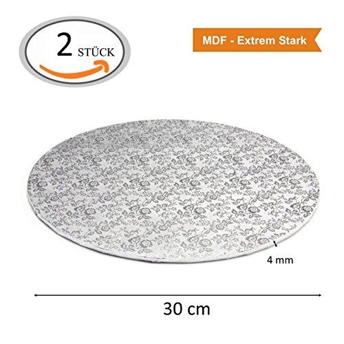 MDF Tortenplatte Kuchenplatte Cake-Board Drum (Ø 30 cm - 2 Stück, Silber)