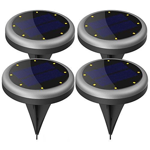 garten bodenleuchten Solarleuchte Garten, Maxchange 8 LEDs IP65 Wasserdicht Solar Bodenleuchte mit Schaltungsschutz, Außenleuchte für Garten Deko Weg Landschaft Auffahrt [Auto On/Off] [Aufgerüstet] [4 Pack]