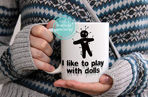 Halloween-Becher-Geschenk-Voodoo-Puppen-Kaffeetasse auch verfügbar als Reise-Becher ()