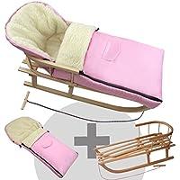 BAMBINIWELT KOMBI-ANGEBOT Holz-Schlitten mit Rückenlehne & Zugseil + universaler Winterfußsack (108cm), auch geeignet für Babyschale, Kinderwagen, Buggy, aus Wolle UNI rosa