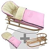 BambiniWelt24 BAMBINIWELT Kombi-Angebot Holz-Schlitten mit Rückenlehne & Zugseil + universaler Winterfußsack (108cm), auch geeignet für Babyschale, Kinderwagen, Buggy, aus Wolle Uni rosa