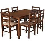HomeTown Magix 6-Seater Dining Set (Dark Walnut)