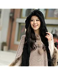 f488c3136f69e Knitted Hat Home Invierno cálido Encantadoras Chicas Reales Tejer Piel de  Conejo con Capucha Bufanda chales Envuelve con Capucha Mujer…