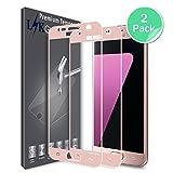 LK Protection écran Samsung Galaxy S7, [2 Pièces][Couverture complète] Verre Trempé [Garantie de Remplacement à Durée de Vie] Screen Protector Film - pink rose