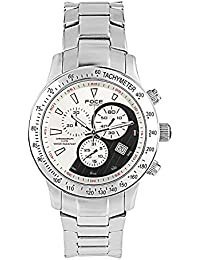 FOCE Silver Round Analog Wrist Watch for Men with Silver Metal Strap - F809GSM-WHITE