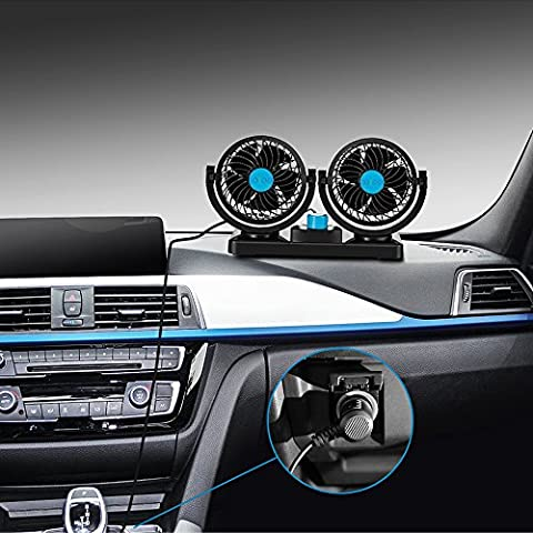 JOJOO 12V Dual Swivel Head Car Auto Cooling Air Fan Rotatable Powerful 2 Speed Auto Quiet Ventilation with Kids Safe Design for Vehicles SUV HM001