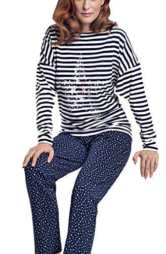 Taubert Damen Pyjama Schlafanzug Stars & Stripes blau Blau
