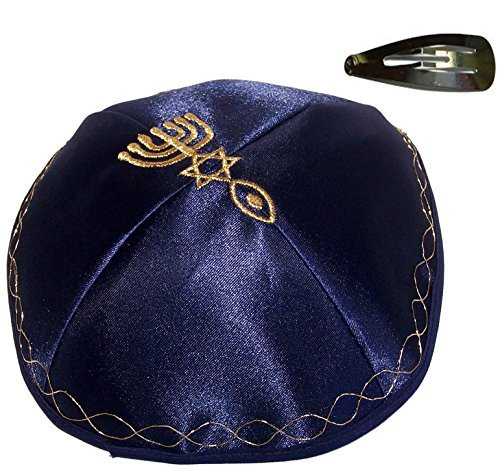 Holylandmarket Blau Kippa mit Golden messianischen Schild Bestickt Satin mit Clip -