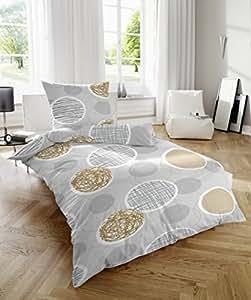 2 tlg Feinbiber Baumwoll Bettwäsche Garnitur Set Kreise, Größen 135 x 200 cm und 155 x 220 cm mit Kopfkissen 80 x 80 cm, Farbe Silber Grau, mit Reißverschluss, Größe 135 x 200 cm