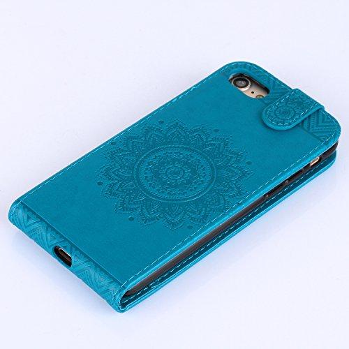 Cover per iPhone 7 4.7 Fiori Custodia,BtDuck Ultra Sottile PU Pelle Shell Disegno Mandala Datura fiori Retro protettivi Bumper Covers Caso per iPhone 7 4.7 Chiusura Magnetica Snap-on ID Carte di Credi #3 Blu