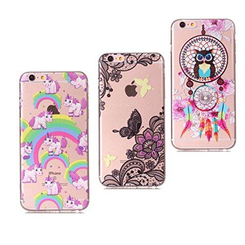 Mandala & Ciambella & gatto - Color trasparente Ultra Slim Fit morbida TPU Case Cover in pelle di gomma del silicone Custodia Copertiura per iPhone 6 / 6s 1