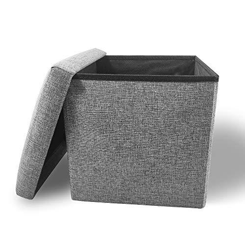 CoCo Living Sitzhocker mit Stauraum Aufbewahrungshocker Ottomane Faltbare Würfel Hocker mit Aufbewahrungs Sitz Faltbarer Platzspielzeug Gedächtnisschaum Deckel Aufgefüllt Platzsparend 30x30x30cm Grau