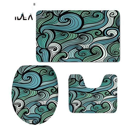 ELEVENH Elf Mode Paisley Design Badezimmer Matten 3 Teile/Satz WC Zubehör Toilettensitzbezüge Rutschfestigkeit Teppich Teppiche Matten, W023CP, Siehe unten für Größenbeschreibungen Paisley Mode