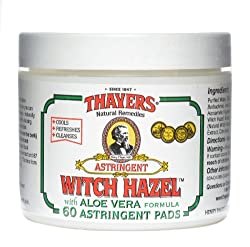 Thayers Witch Hazel with Aloe Vera Astringent Pads Herbal 60 count
