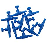 SODIAL(R)10 Stueck Blauer Kunststoff 2-Wege Aquarium Fisch Behaelter Luftpumpe Steuerventil 3.7 x 2.4 x 0.9cm