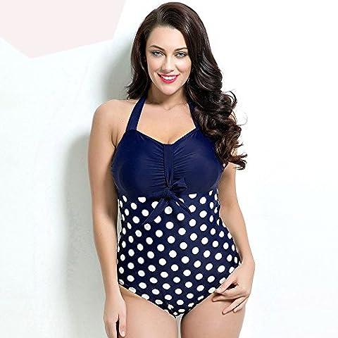 Femmes Bikini taille plus sur les points Rouge Noir Bleu , navy , 52