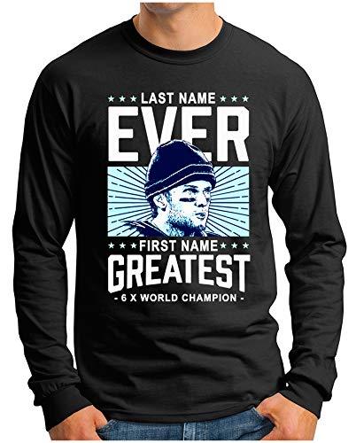 OM3® - Ever-Greatest - Langarm T-Shirt   Herren   American Football MVP Legend Printshirt   Schwarz, L - Gronkowski Tshirt Rob