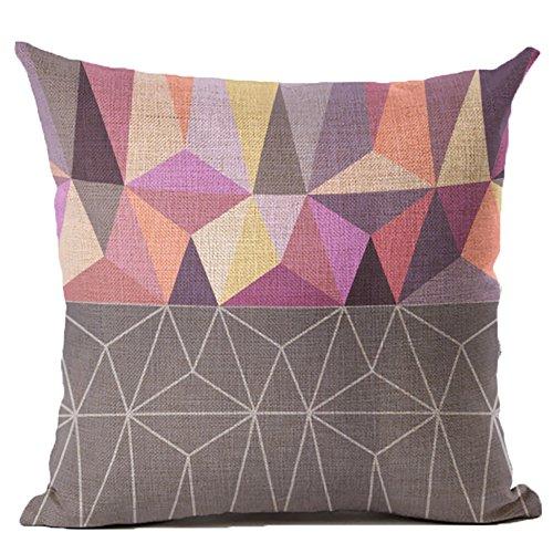 Coolsummer cotone lino quadrati Throw Pillow Cover cuscino decorativo colorato astratto geometrico federa con cerniera nascosta per divano, letto, sedia, sedile auto 45,7x 45,7cm, UKS036A3, 18 x 18