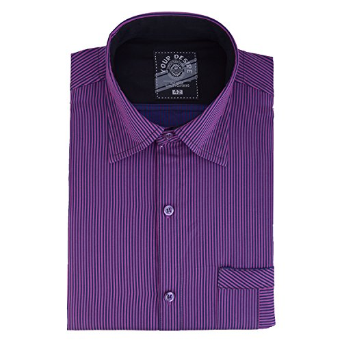 Your Desire Shirts Men Cotton White and Purple Formal Shirt (Size 38)