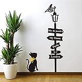 Beau chat sous la lumière de la rue vinyle stickers muraux diy décoration de la maison stickers muraux de bande dessinée pour la chambre d'enfants papier peint