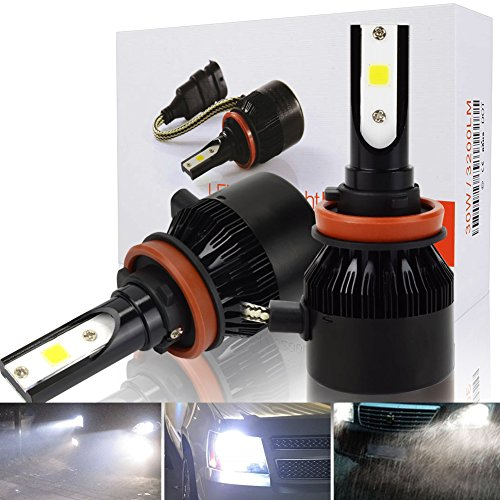 Safego Lampadine H11 LED 8000LM, H8 H9 LED Fari Abbaglianti o Anabbaglianti per Auto, Kit Lampada Sostituzione per Alogena Lampade e Xenon Luci, 12V DC, 6000K Bianco