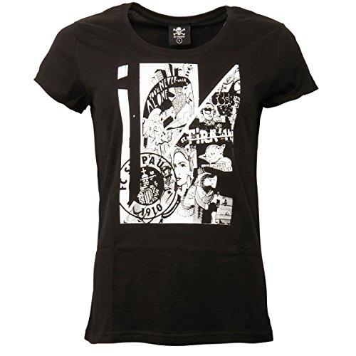 FC St. Pauli Damen Frauen T-Shirt Kunstdruck Collage Vereinslogo Hamburg Schwarz Weiß (L)