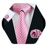 Barry.Pañuelo de bolsillo de corbata de seda rosa para hombre Corbata a cuadros con gemelos
