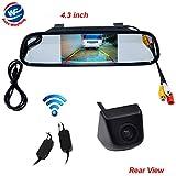 Auto Wayfeng WF Caméra de recul sans fil avec caméra couleur CCD HD et kit de surveillance de rétroviseur 4.3 pour voiture / véhicule / camion / fourgonnette, caméra noire