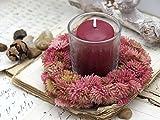 SET: Kerzenring + Kerze + Glas Mauve Rosa Herbst Tischdeko Kerzendeko, Farbe:Bordeaux - 2