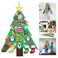Amosfun DIY Felt Christmas Tree with 32Ppcs Detachable Ornaments Wall Hanging Decor for Kids Xmas Gifts Home Door Decoration