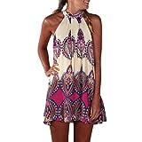 UFACE Women's Sleeveless Flower Halter Floral Print Dress Casual Sleeveless Halter Neck Boho Print S Outdoor (L, Pink)