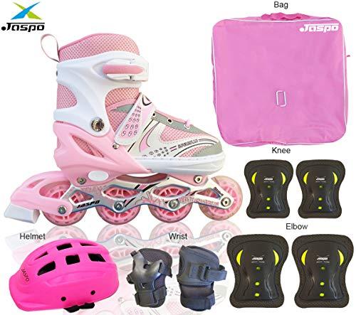 JASPO Sparkle Pro Adjustable Inline Skates Combo with Front Light up Wheels Beginner Skates Fun Illuminating Roller Skates for All Boys and Girls. (Pink, Small (11-2 UK))