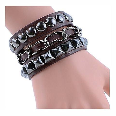 Y-BLUE Fashion Schmuck Armreif Armband handgemachte Mens DIY Craft Multilayer gewebt Armband 4 Farbe braun