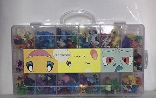 Nuevo lindo 144 piezas Pokemon Monstruo mini figuras (2-3cm) en una caja de almacenamiento (regalos de cumpleaños)