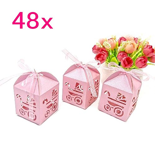 JZK 48 x Rosa Pearly papier Süßigkeiten Schachtel Gastgeschenk Geschenkbox, Tischdeko für Mädchen Geburtstag Party Taufe Babyparty Baby Shower Kinderparty Garten Party