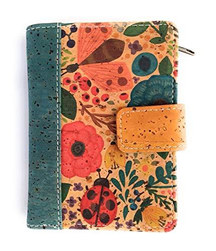 Cartera de Mujer con Monedero, Billetera de Mujer, con Cremallera, Original de Corcho ecológico Portugués de diseño.