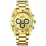 BINLUN Reloj para Hombre Reloj Cronógrafo Deportivo Chapado en Oro de 18 k para Hombres Vestido Acero Inoxidable Reloj de Pulsera de Cuarzo con Fecha de Calendario