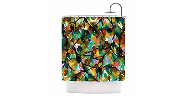 Kess InHouse EBI Emporium by Any Other Name 7 Orange Green Watercolor 69 x 70 Shower Curtain