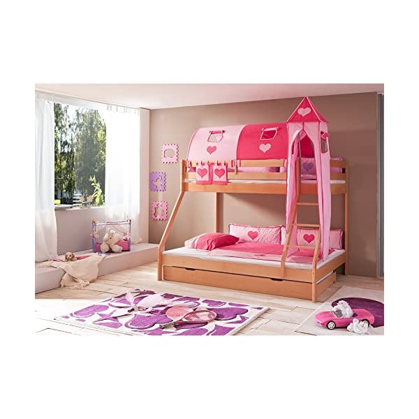 Relita Bunk Bed with Bed Drawers and Mike 4-Piece textils. Pink Solid Beech Wood Natural Varnish Relita Width approx. in cm (L x W x H): 155 Length: approx. in cm (L x W x H): 210 Height approx. in cm (L x W x H): 160 1