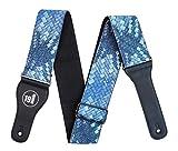 Blau Töne Vegan Interlaced-Schlange Haut Python Strukturierte Verstellbarer Gitarrengurt