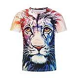 ASHOP Herren T-Shirt 3D Lion Printing beiläufige dünne kurzärmelige Shirt Top Bluse (XL, Weiß)