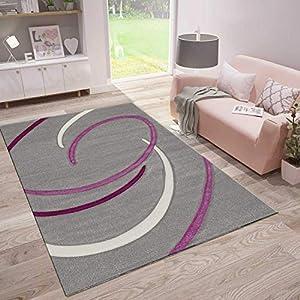 VIMODA Wohnzimmer Teppich Modern Kreisel Muster handgeschnittene Konturen Farbe Grau Lila, Maße:120 x 170 cm