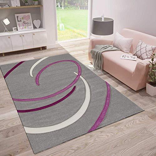 VIMODA Moderne Designer Teppiche Verschiedene Muster Lila Rot Grau Schwarz Weiss 160x230 cm