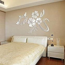 FriendGG Adhesivo de pared para espejos, diseño de flores 3D, acrílico, vinilo extraíble, decoración del hogar, bricolaje, cocina, salón, baño, dormitorio, decoración, plateado, 78*60cm