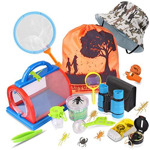 Draussen Forscherset & Bug Catcher Kit 20 Stück mit Kinder fernglas, Taschenlampe, Kompass Lupe, Insect Viewer Critter Käfig, Schmetterlingsnetz, Pinzette Adventurer Explorer Set Geschenke für Camping