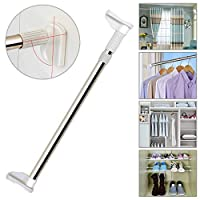 TTMOW Adjustable Tension Shower Curtain Rod Brushed Stainless Steel for Window Drapery with 2.5CM Thickened Diameter, Curtain Pole, Wardrobe Rail