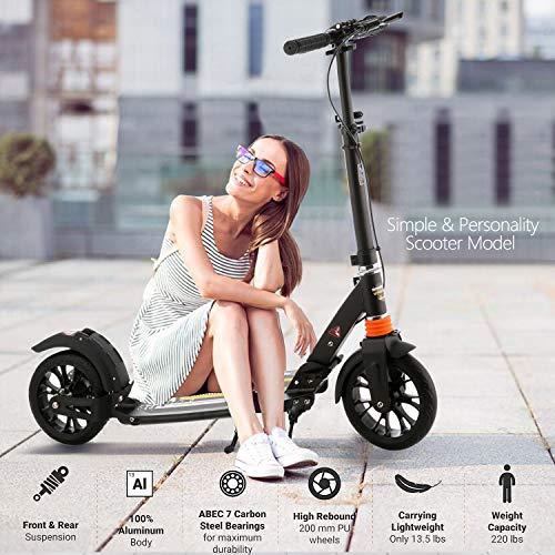 Hiriyt Kinder/Erwachsenen Roller mit 3 Sekunden Easy-Folding-System, 220lb Klapproller mit/ohne Scheibenbremse und 200mm großen Rädern (Schwarz mit Scheibenbremse)