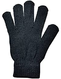 Mens Fine Knitted Thermal Plain Colour Gloves Winter Warm One Size