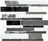 Mosaik Fliese Transluzent grau schwarz Verbund Glasmosaik Crystal Stein klar grau schwarz für BODEN WAND BAD WC DUSCHE KÜCHE FLIESENSPIEGEL THEKENVERKLEIDUNG BADEWANNENVERKLEIDUNG Mosaikmatte Mosaikplatte