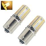 2-Stücke 3W Ba15s LED Lampe DC10-20V Rückfahrscheinwerfer Warmweiße 3000K Ba15s LED mit Auto Licht Bremslicht Blinker Standlicht Innenbeleuchtung Rücklicht Tagfahrlicht